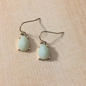 Anthropologie Light green and gold drop earrings